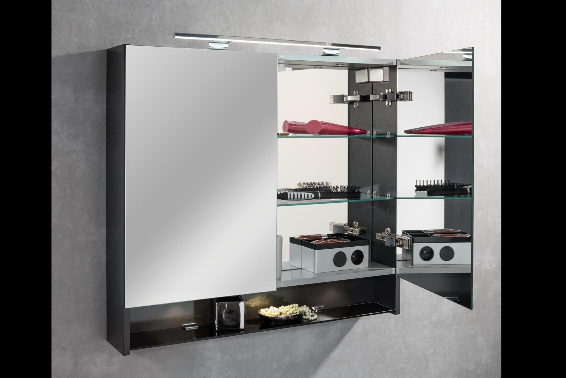 Badmöbel Set LZ150 Anthrazit mit  Spiegelschrank,  Innenverspiegelung eleganter Mineralguss-Waschtisch