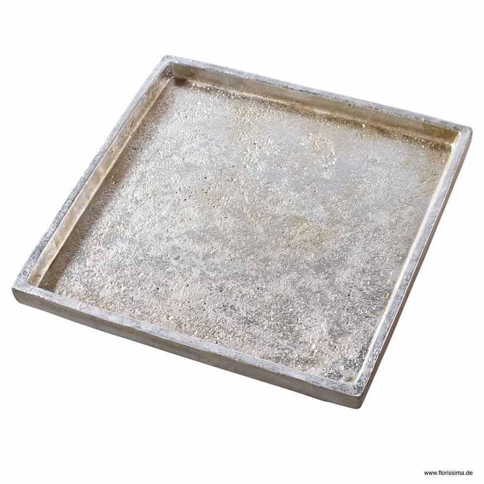 TABLETT QUADRATISCH Keramik L 31CM WHITE WASH / SILBER